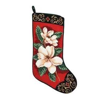 Magnolias On Red Needlepoint Stocking - King