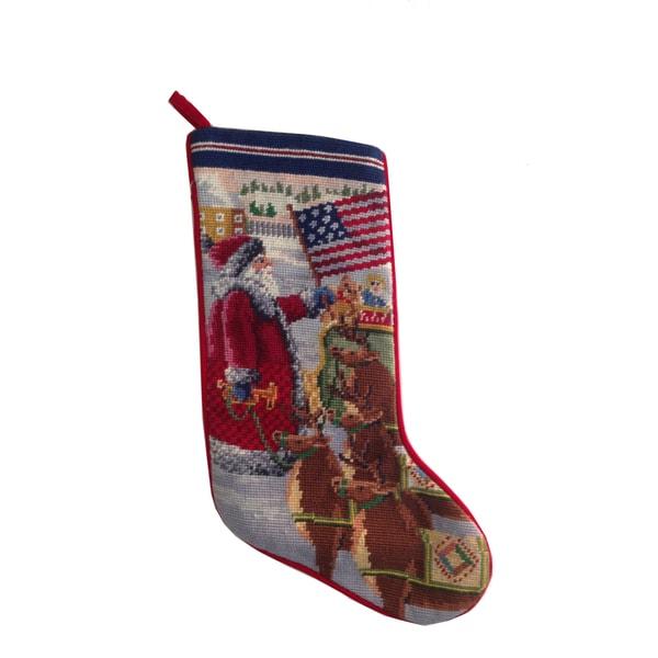 Needlepoint Stocking Americana Santa