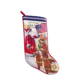 Americana Santa Needlepoint Stocking - King