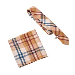 Skinny Tie Madness Men's Mustard Pie Multi Plaid Tie with Pocket Square and Clip