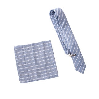 Skinny Tie Madness Men's Unreleased Energy Grey Stripe Tie with Pocket Square