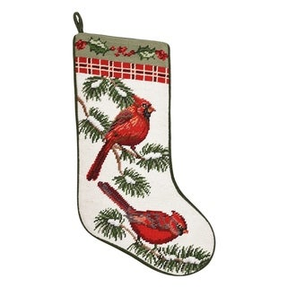 Needlepoint Stocking Forest Cardinals