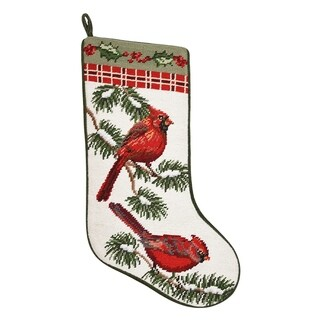 Forest Cardinals Needlepoint Stocking - King