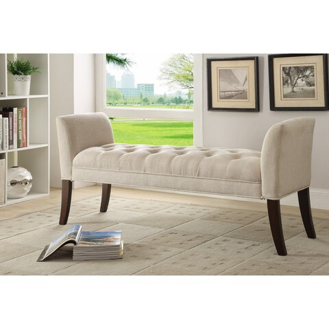Somette Cream Button-Tufted Accent Bench