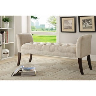 Somette 54-inch Cream Tufted Accent Bench