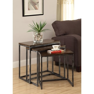 Somette Brown Cherry 3-Tier Nesting Accent Tables (Set of 3)