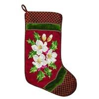 Holiday Snowrose Needlepoint  Stocking - King