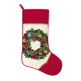 Needlepoint Stocking Ornament Wreath