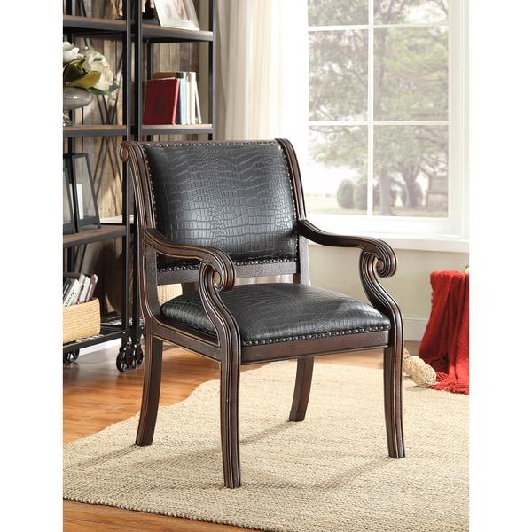 Shop Somette Black Faux Textured Accent Armchair 24 5 Quot L