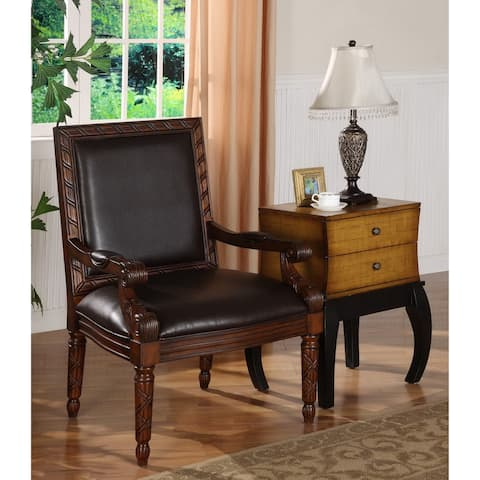 """Somette Dark Brown Faux Leather Accent Chair - 28.5""""L x 29.5""""W x 42""""H"""