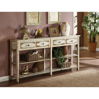 Somette White Rub-Through Console Table