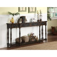 Somette Espresso Rub-Through 4-Drawer Console Table