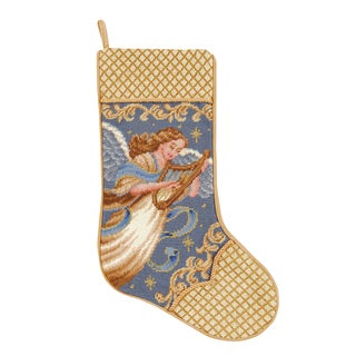 Needlepoint Stocking Angel With Harp