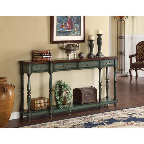 Shop Somette Sea Green Weathered Console Table Free
