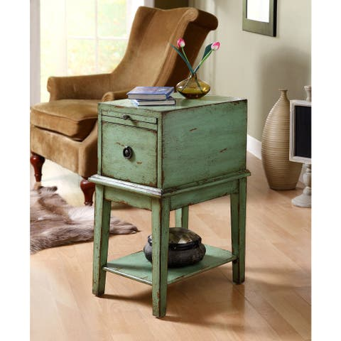 "Somette Sea Green Weathered 1-Drawer Chair Side Cabinet - 14""L x 19""W x 26.5""H"