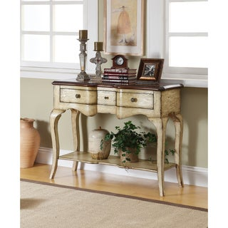 Somette Cream Weathered 3-Drawer Console