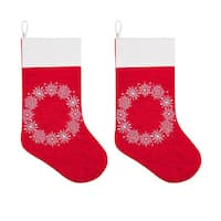 Snowflake Wreath Stockings - Set of 2