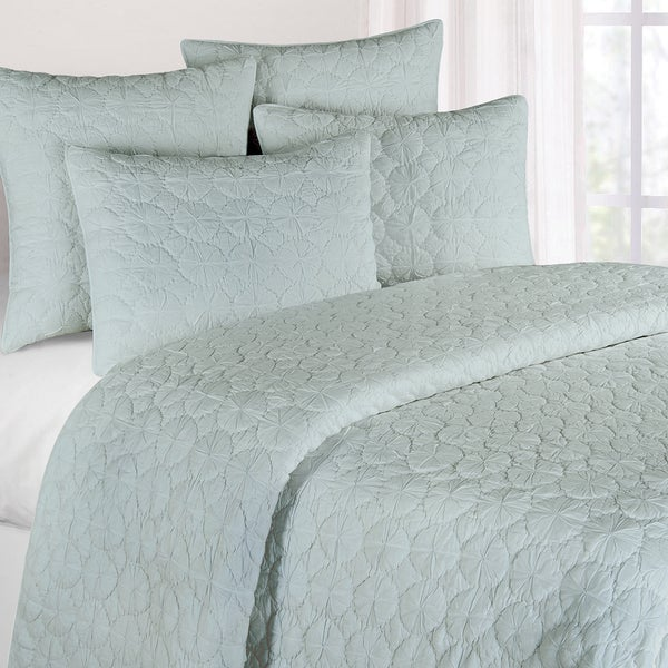 Oversized Blue Mara Cotton Quilt (Shams Not Included)