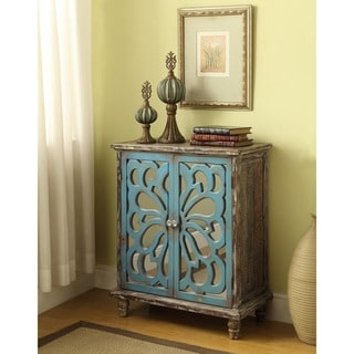 Somette Brown and Blue Weathered 2-door Cabinet