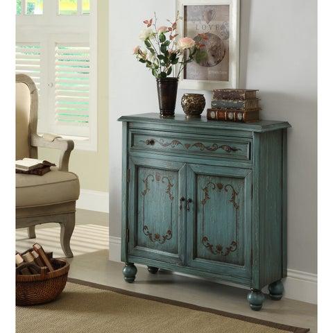 Somette Teal Weathered 1-Drawer, 2 Door Cabinet
