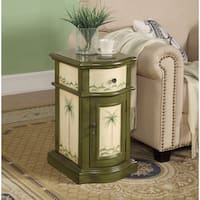 Somette Olive Painted 1-Drawer, 1-Door Coastal Accent Chest