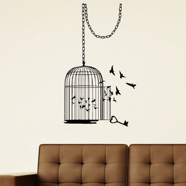 Shop Freedom Inspirational Birdcage Vinyl Wall Art Decal Sticker ...