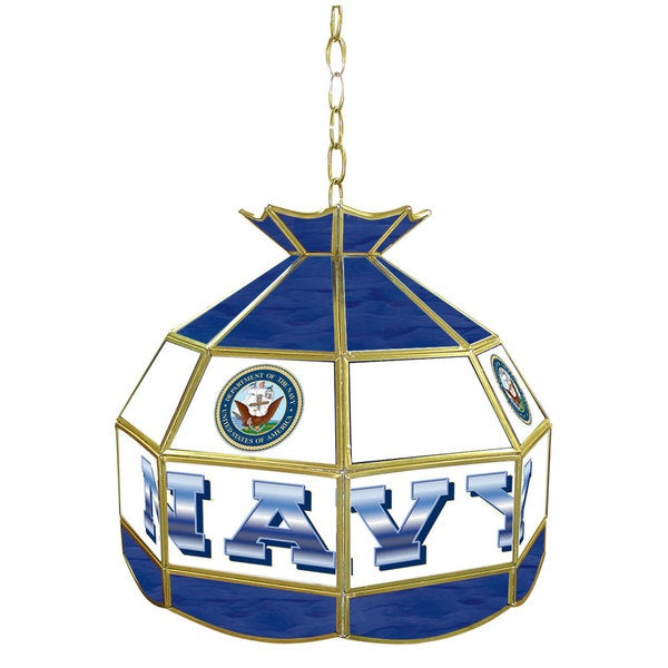 United States Navy Stained Glass Tiffany Lamp - 16 inches