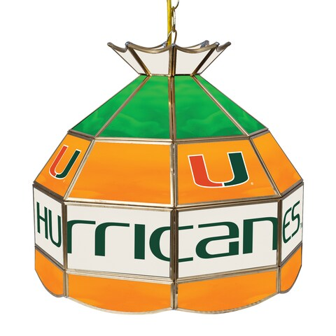 University of Miami 16 Inch Handmade Tiffany Style Lamp - The U