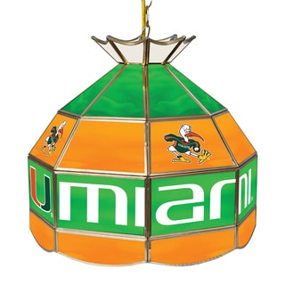 University of Miami 16 Inch Handmade Tiffany Style Lamp - Sebastian