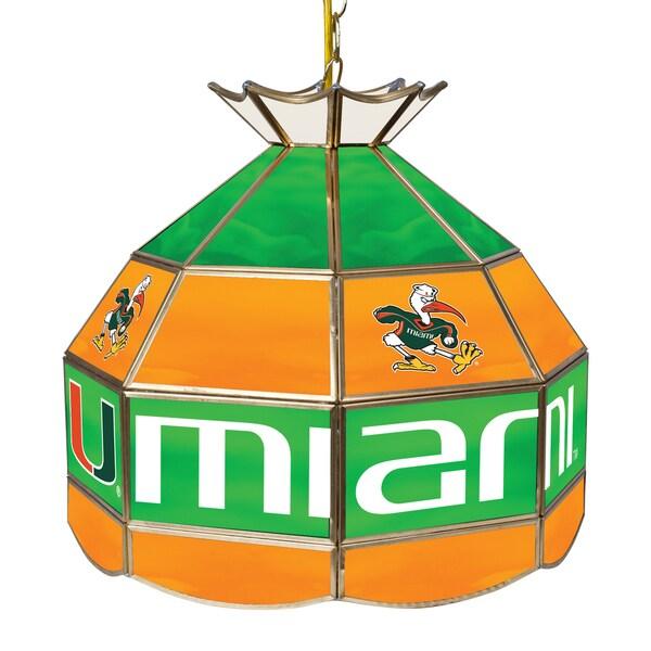 University of Miami 16 Inch Handmade Tiffany Style Lamp - Sebastian