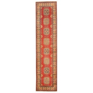 Herat Oriental Afghan Hand-knotted Tribal Kazak Red/ Ivory Wool Runner (2'8 x 11'3)