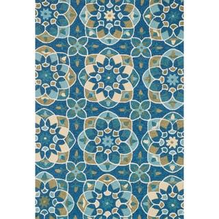 Hand-hooked Charlotte Blue/ Yellow Kaleidoscope Rug (3'6 x 5'6)