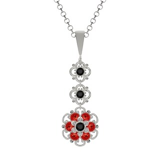 Lucia Costin Sterling Silver Black/ Red Crystal Pendant,