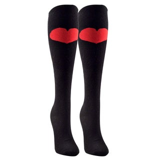 Women's Cotton Black Big Heart Knee High Sock