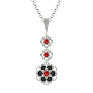 Lucia Costin Sterling Silver Red/ Black Crystal Pendant