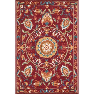Hand-hooked Charlotte Red/ Sage Rug (2'3 x 3'9)