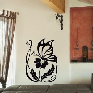 Butterfly and Flower Vinyl Wall Art Decal Sticker