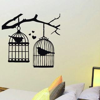 freedom inspirational birdcage vinyl wall art decal