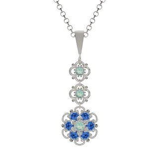 Lucia Costin Sterling Silver Mint Blue/ Blue Crystal Pendant