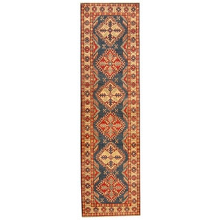 Herat Oriental Afghan Hand-knotted Tribal Kazak Blue/ Ivory Wool Runner (2'9 x 10')