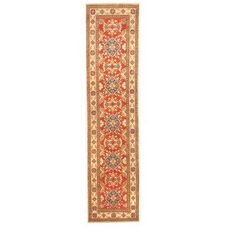 Herat Oriental Afghan Hand-knotted Tribal Kazak Red/ Ivory Wool Runner (2'7 x 10'10)