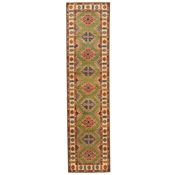 Handmade Herat Oriental Afghan Tribal Kazak Wool Rug (Afghanistan) - 2'7 x 10'4