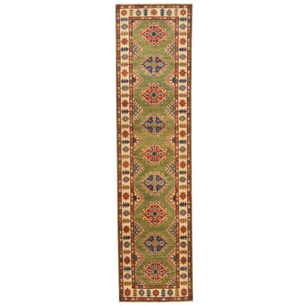 Herat Oriental Afghan Hand-knotted Tribal Kazak Wool Rug (2'7 x 10'4)