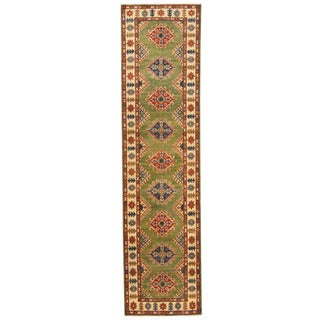 Herat Oriental Afghan Hand-knotted Tribal Kazak Green/ Ivory Wool Rug (2'7 x 10'4)