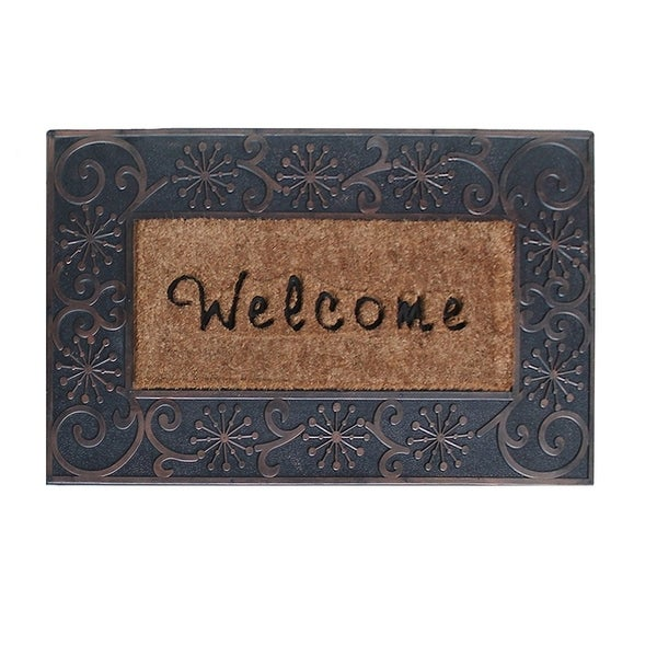 First Impression A1 Home Large Hand Finished Coir Brush Welcome Mat (1'11 x 3'2)
