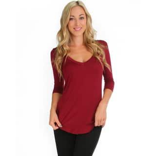 Lyss Loo Women's 3/4-Sleeve V-Neck Top (Option: Beige)|https://ak1.ostkcdn.com/images/products/10653525/P17720154.jpg?impolicy=medium