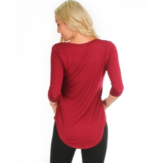 Lyss Loo Women's 3/4-Sleeve V-Neck Top