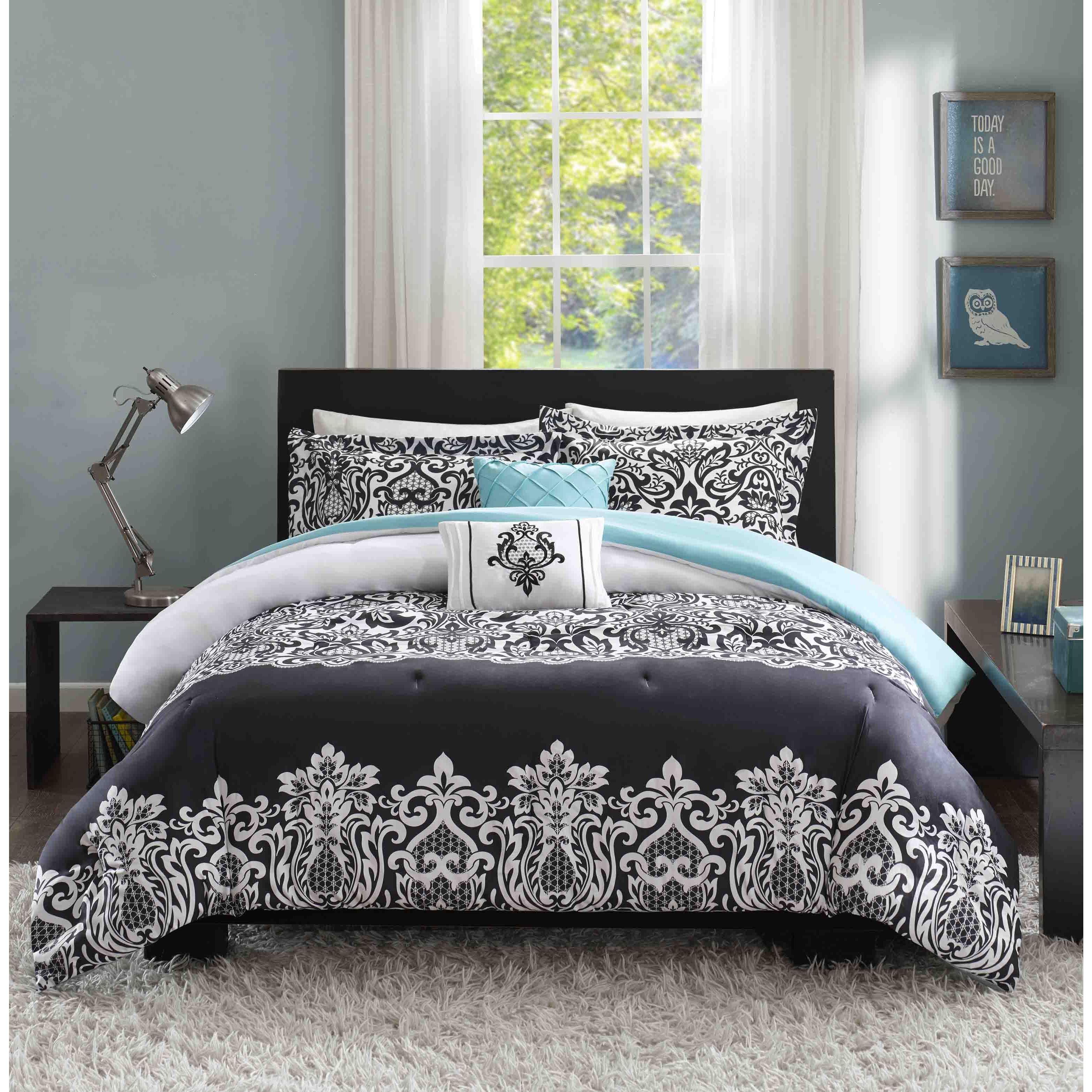 Intelligent Design Hazel Black And Teal Comforter Set On Sale Overstock 10653531