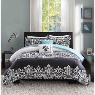 Intelligent Design Hazel Black and Teal Comforter Set