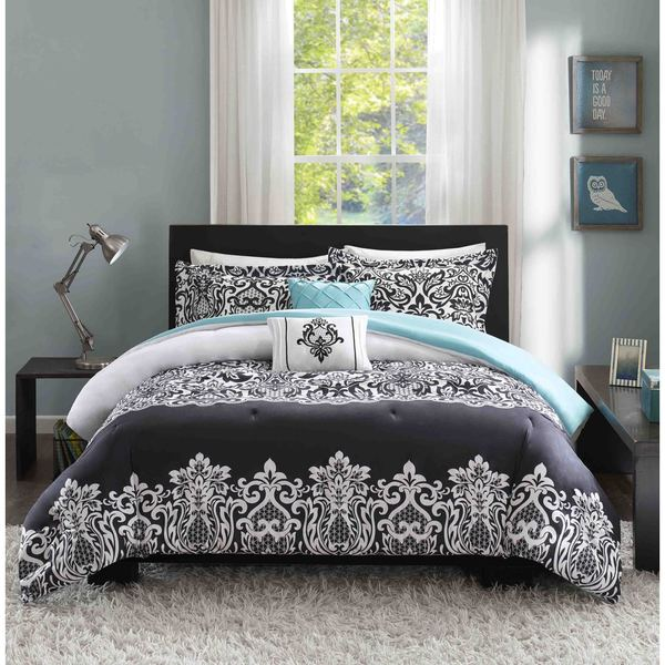 Intelligent Design Hazel Black And Teal Comforter Set Free - Black and teal comforter sets